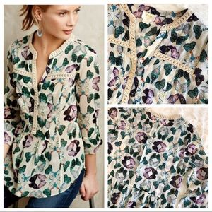 ANTHROPOLOGIE Abella Pintuck Butterfly Print Top